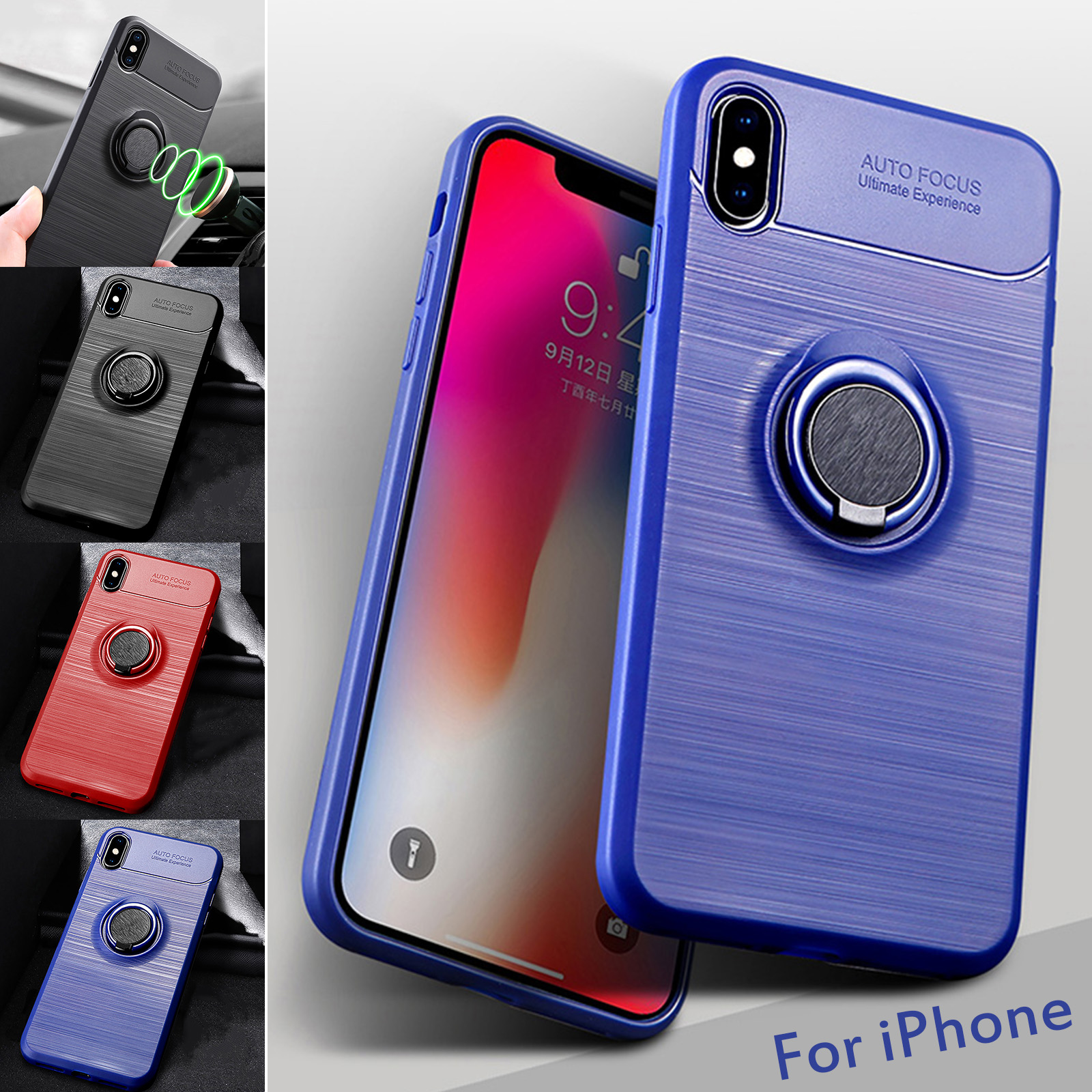 Details about Magnetic Soft TPU Case 360 Ring Holder Stand Cover For iPhone XS Max XR 7 8 Plus
